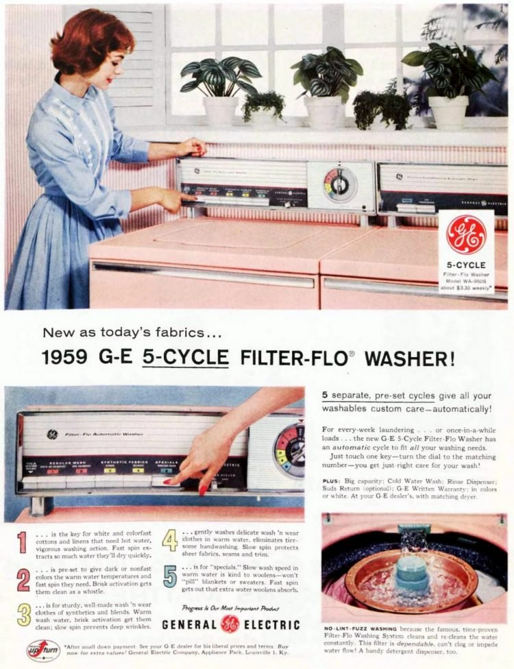 1959 GE Filter-Flo washer in pink