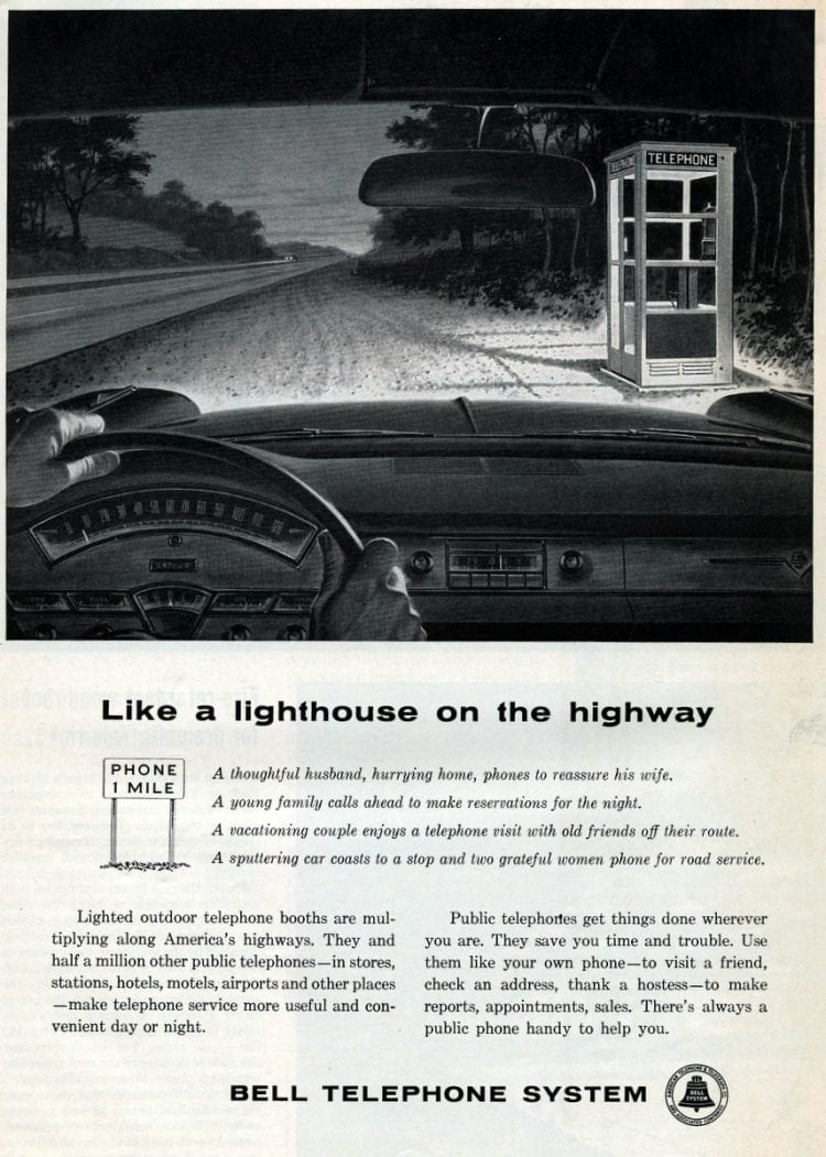 1959 Vintage pay phonebooth on the highway