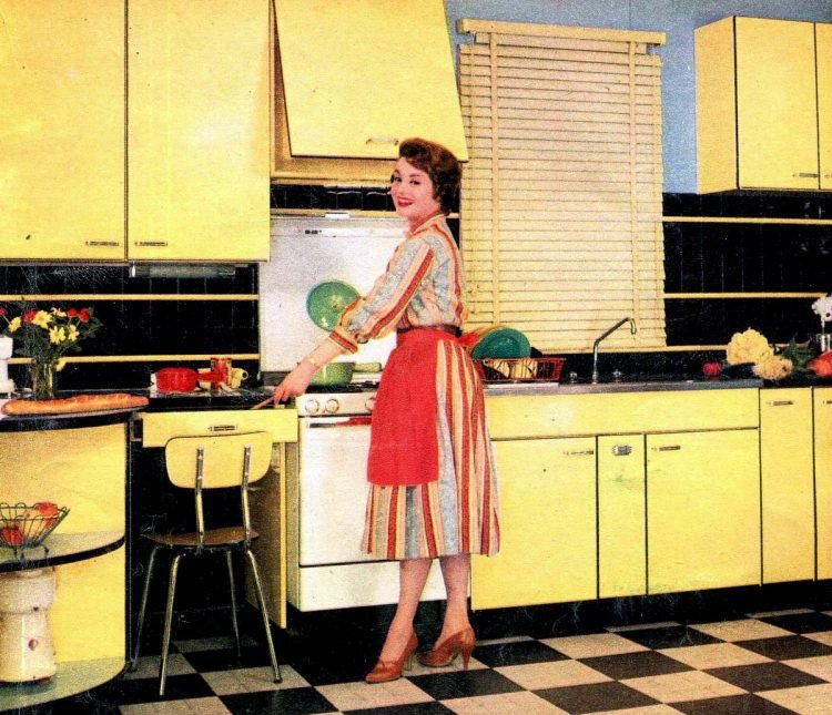 Retro yellow kitchens - decor with black and white check floor (1959)
