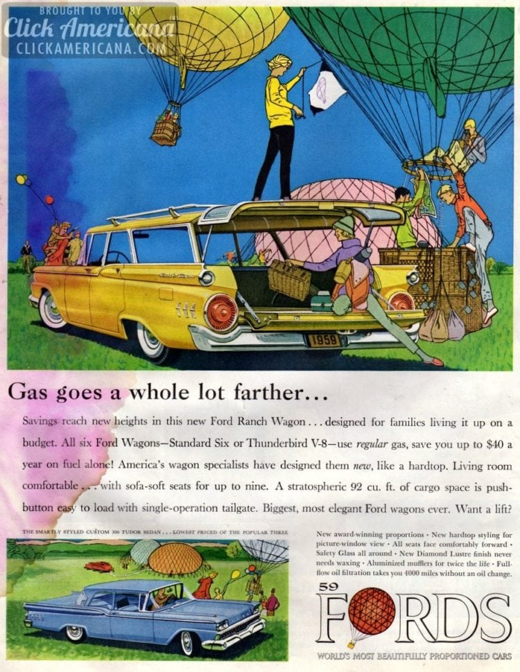 Savings reach new heights in the '59 Ford Ranch Station Wagon