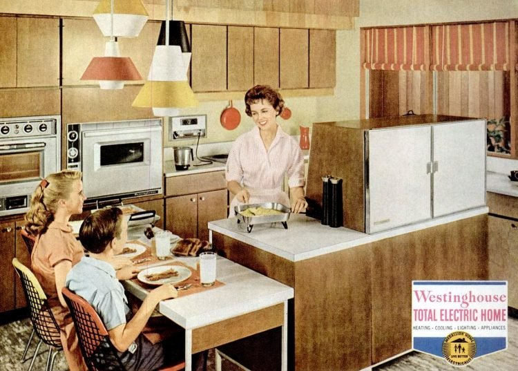 1959 retro kitchen two-sided fridge on countertop