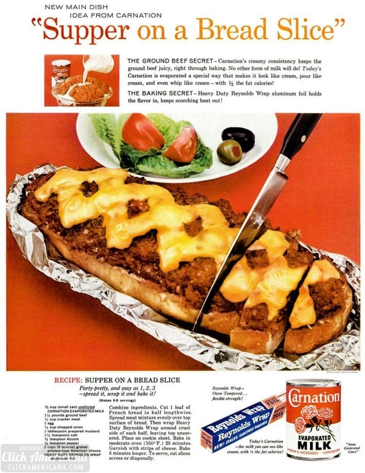 1960 Meatloaf dinner on bread - food