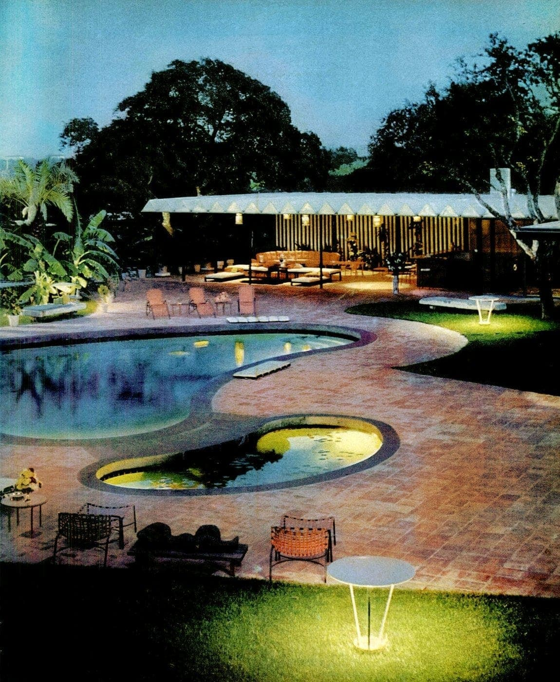 1960 backyard pools with a large covered patio