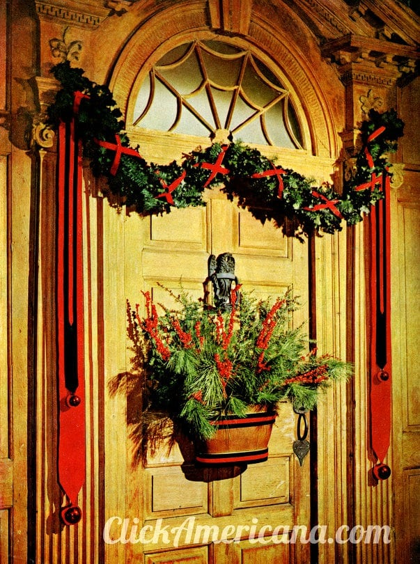 Decorating your front door for Christmas (1960) - Click Americana