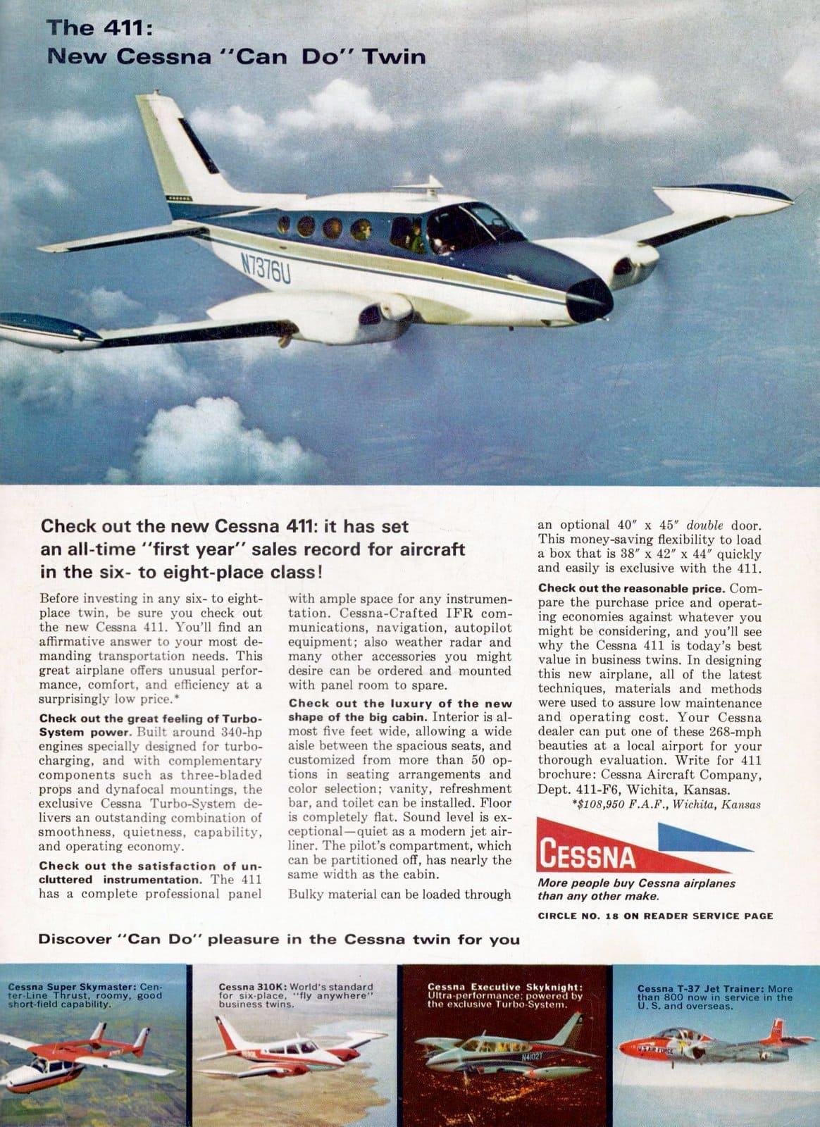 1960s Cessna Twin prop plane (1966)