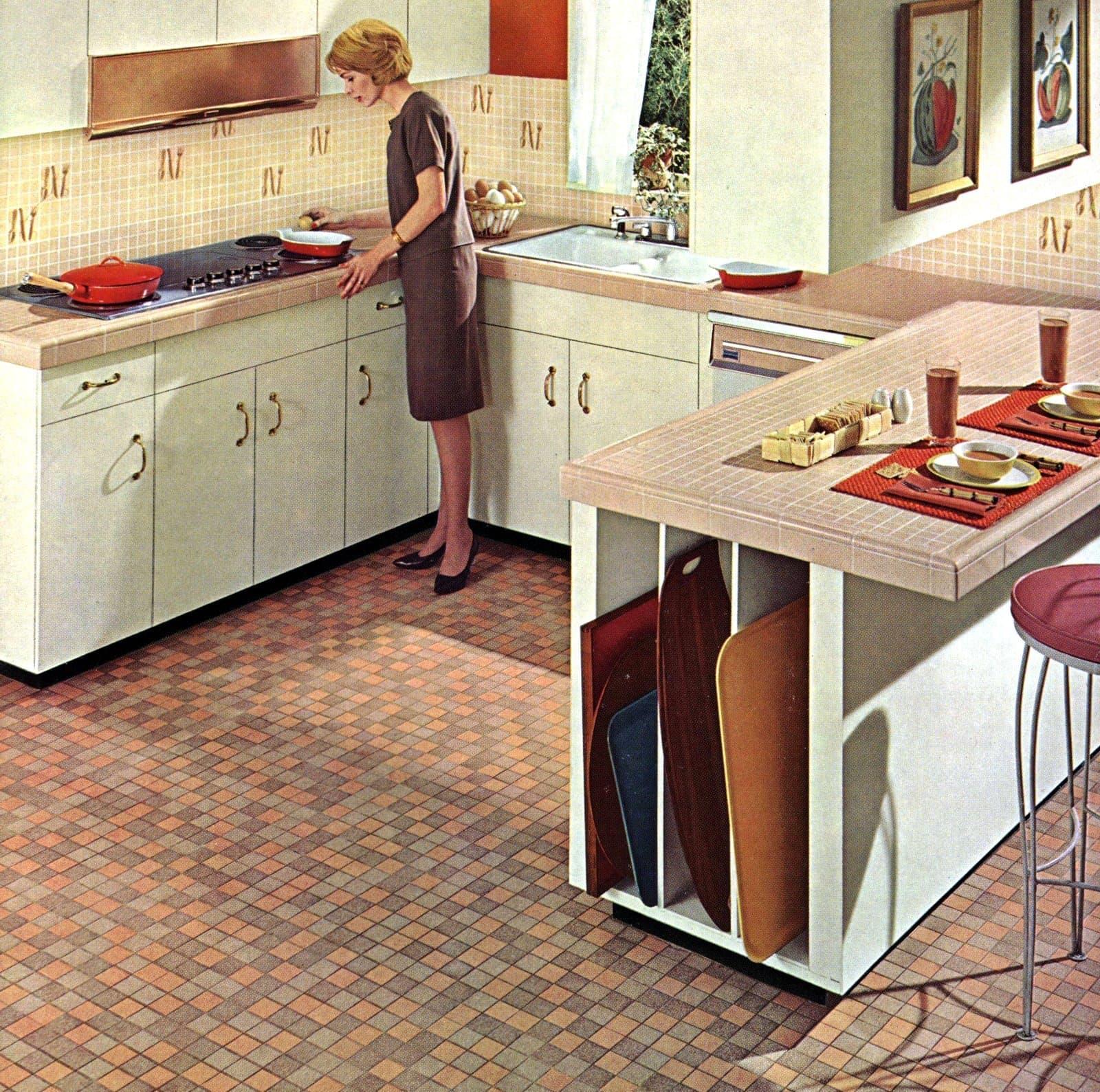 1960s home decor - Kitchen tile countertops floor and backsplashes
