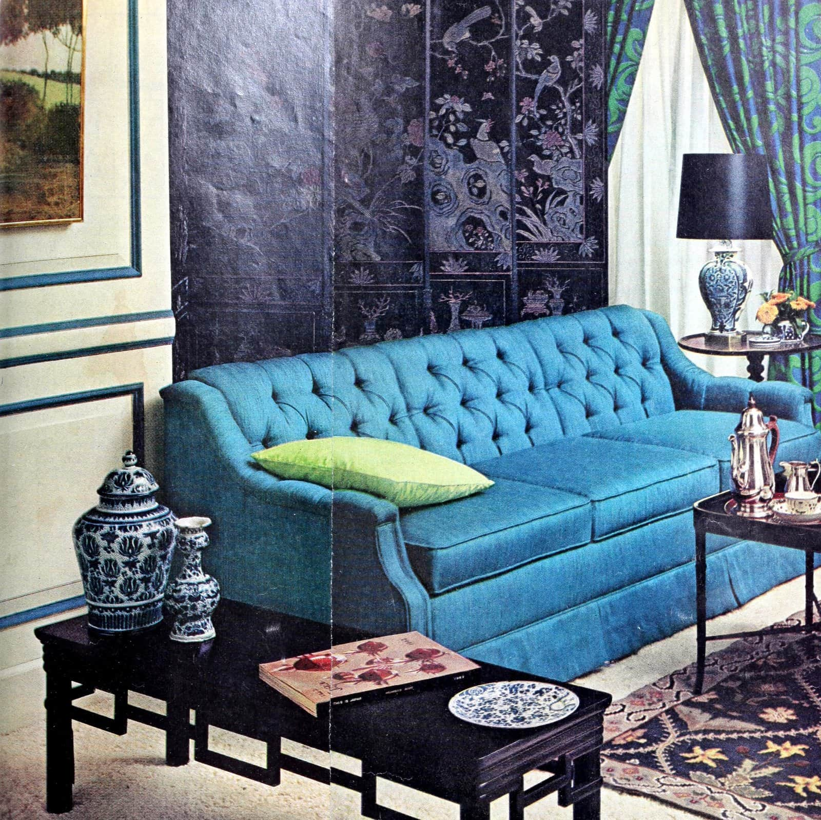 1960s living room decor with a bright blue sofa (1968)