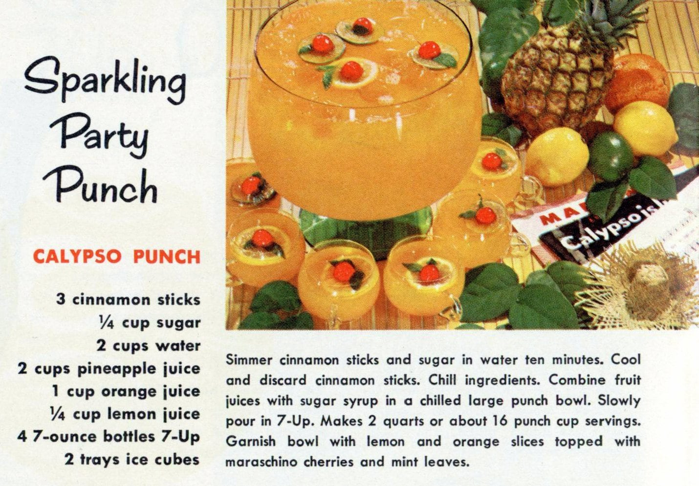 1960s recipe for Sparkling Party Punch with 7-UP