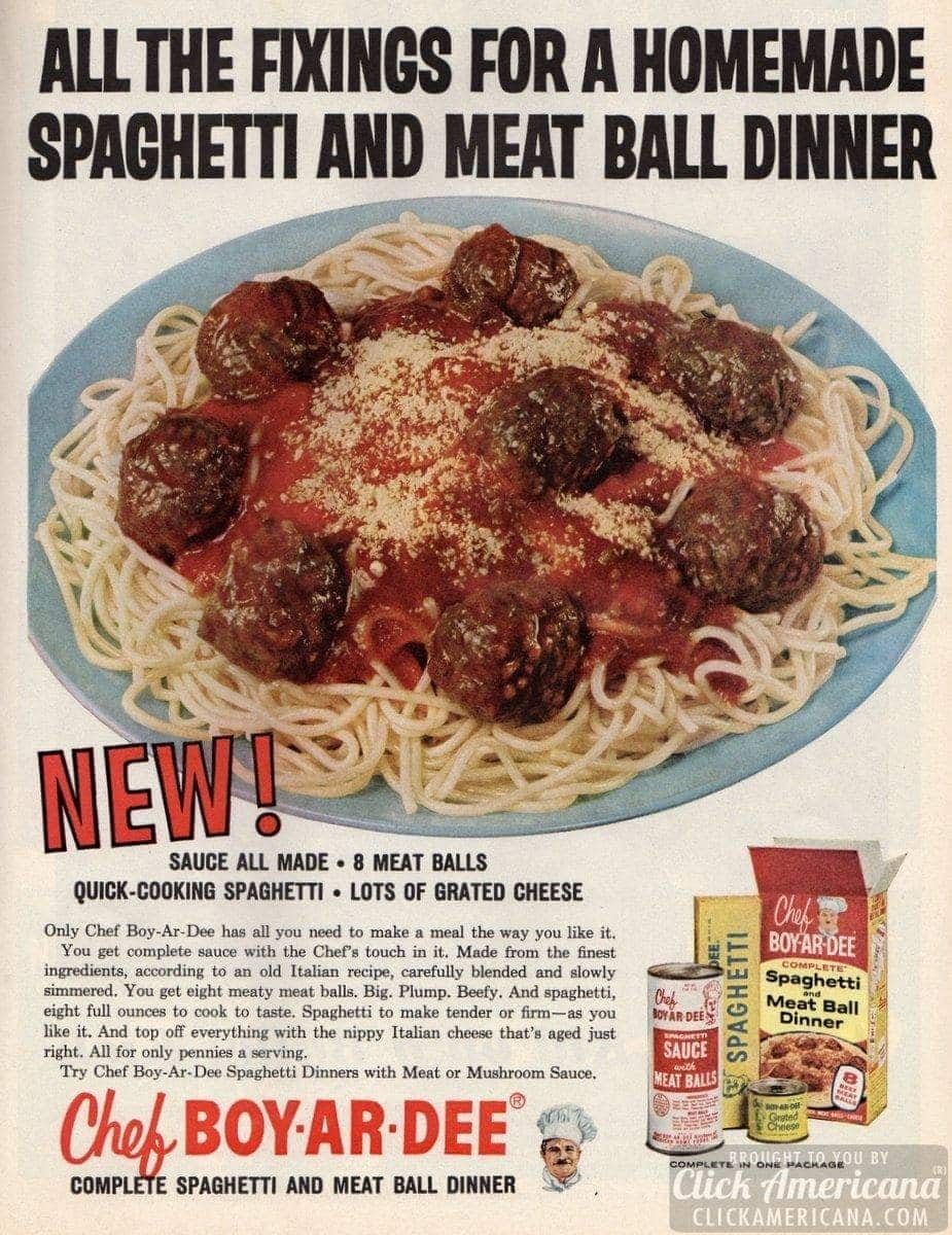Chef Boy-Ar-Dee spaghetti & meat ball dinner (1961)
