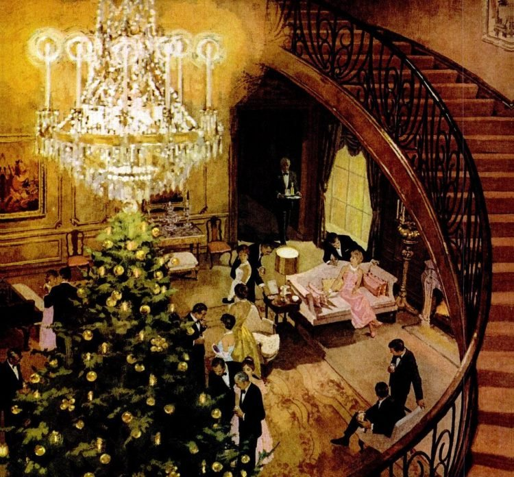1961 Christmas scene and staircase