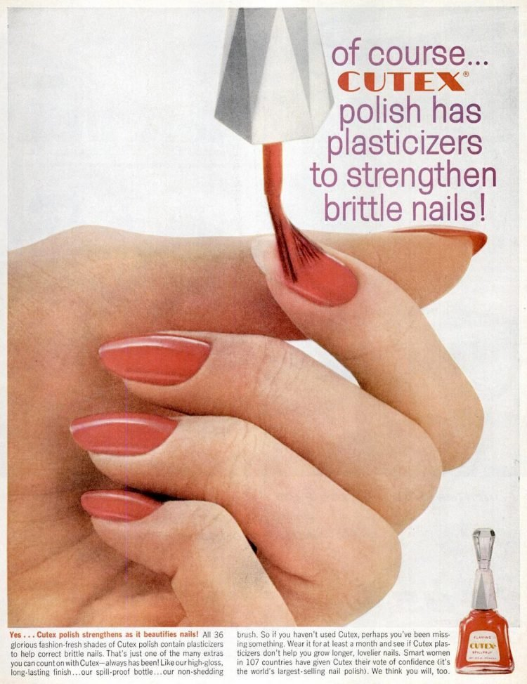 1961 Cutex fingernails - nail polish manicure