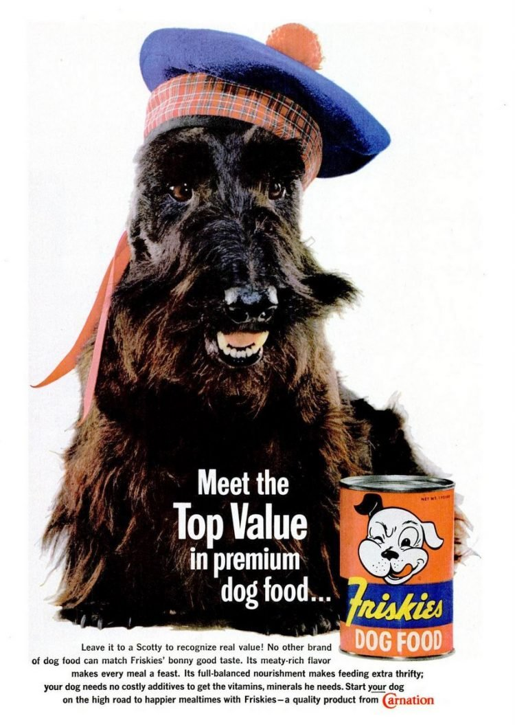 1961 Friskies dog food from Carnation