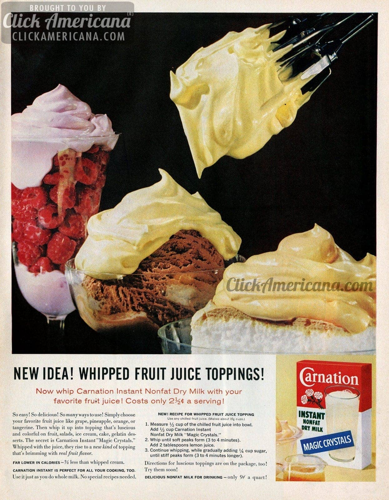 New idea! Whipped fruit juice toppings (1961)