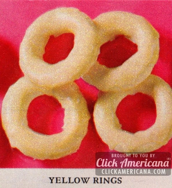 Holiday cookie box: Lemony Yellow Ring Cookies (1961)