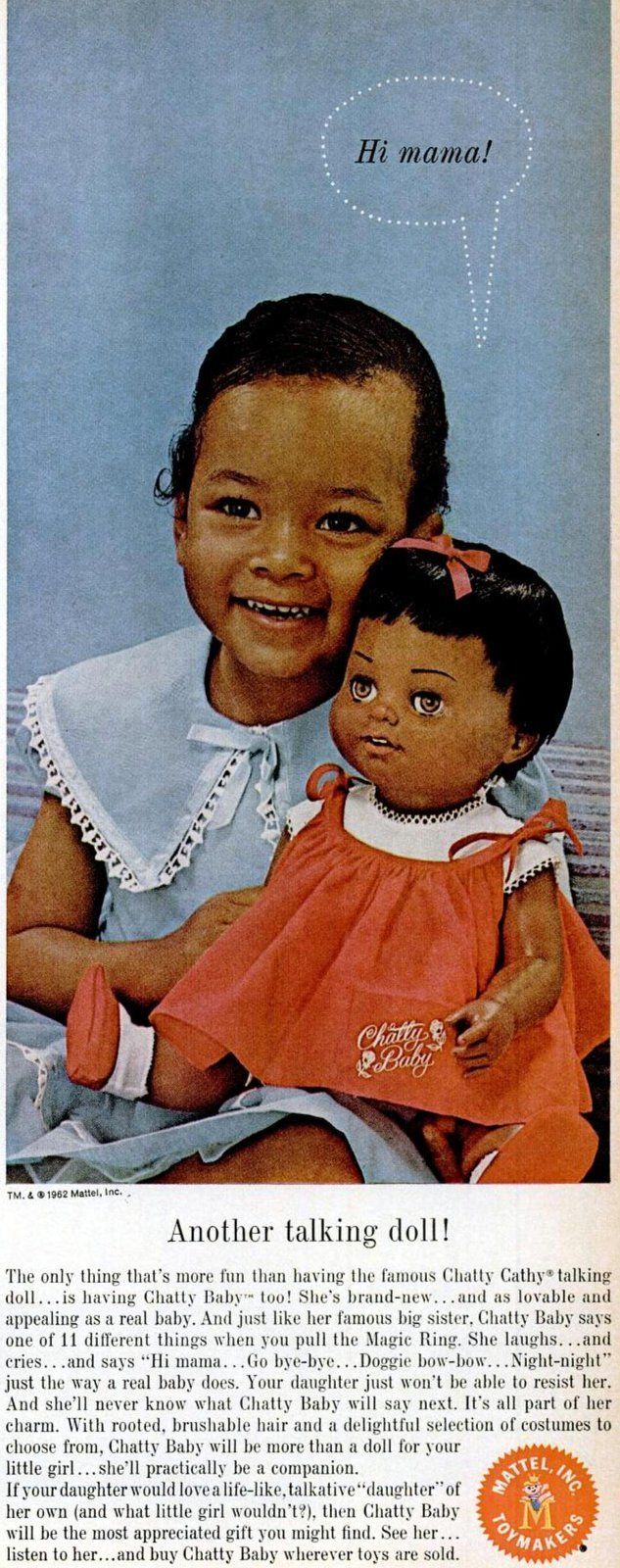 1962 Chatty Baby talking doll toy