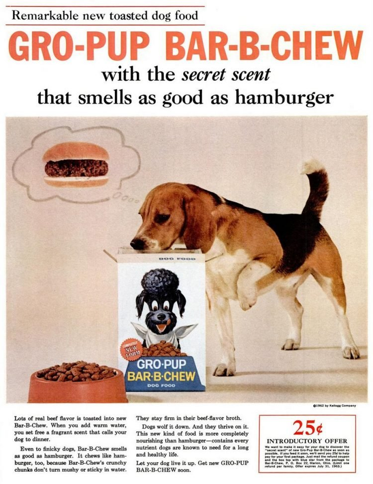 1962 Gro-Pup Bar-B-Chew dog food