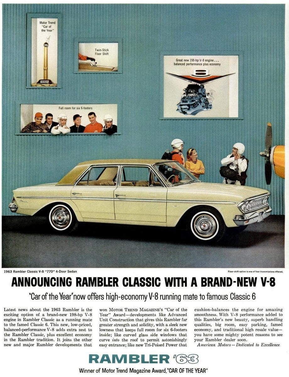 1963 - Announcing Rambler Classic with a brand-new V8