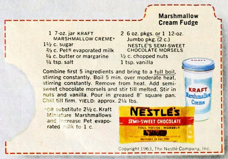 Classic Marshmallow Cream Fudge Recipe 1963 Click Americana