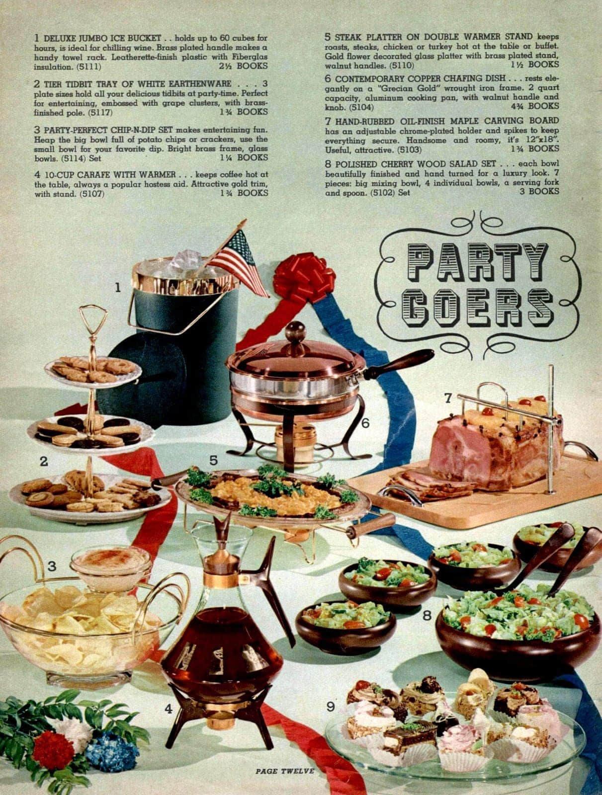 Have a retro party! Serving plates, salad bowls, platters, chafing dish, chip n dip set, tidbit tray