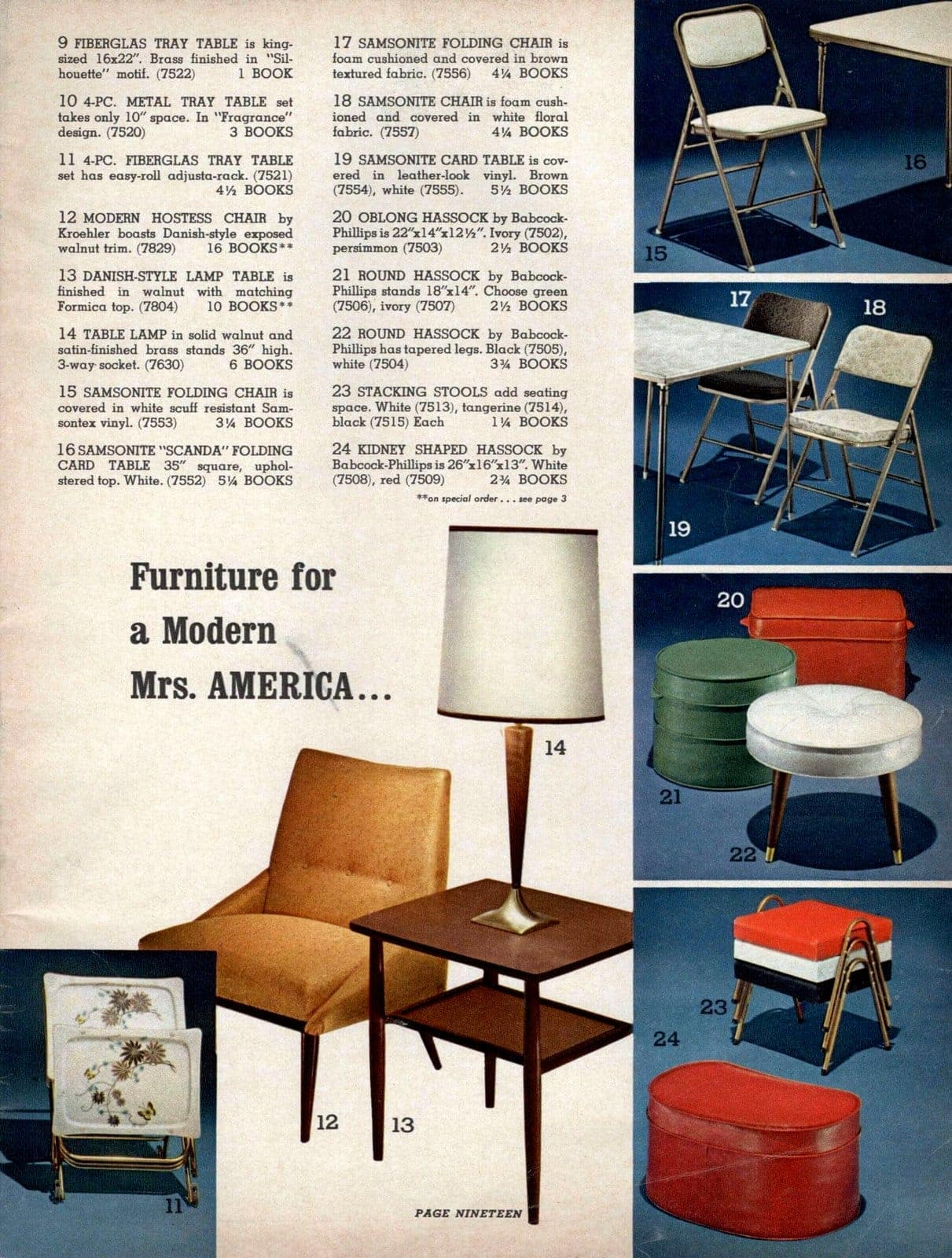 Vintage mid-century furniture - folding chairs, stools, hassocks, card tables and more