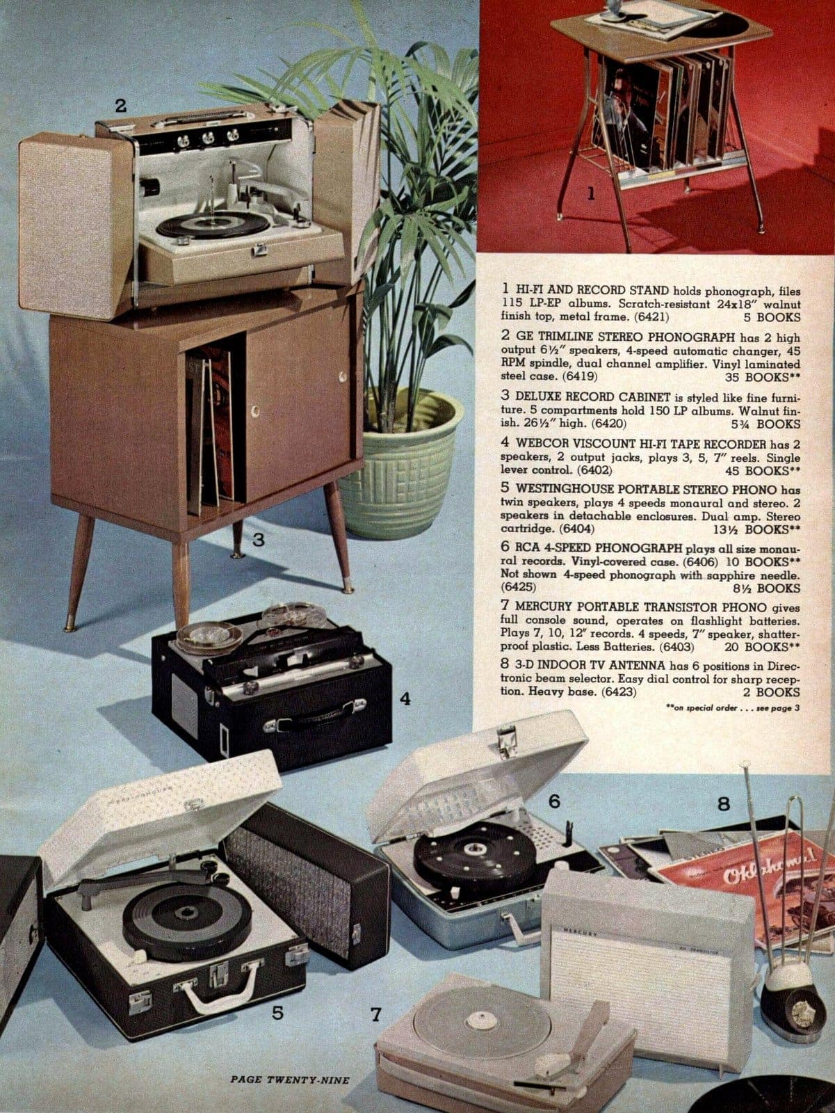 Record players, record stands, photographs and other retro AV gear