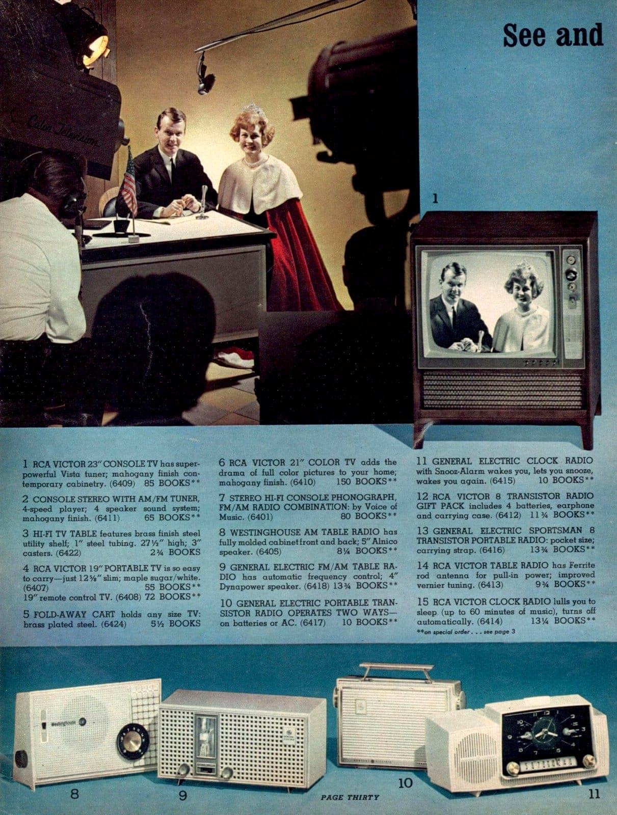 Vintage Tv sets and clock radios - RCA Victor, General Electric, Westinghouse