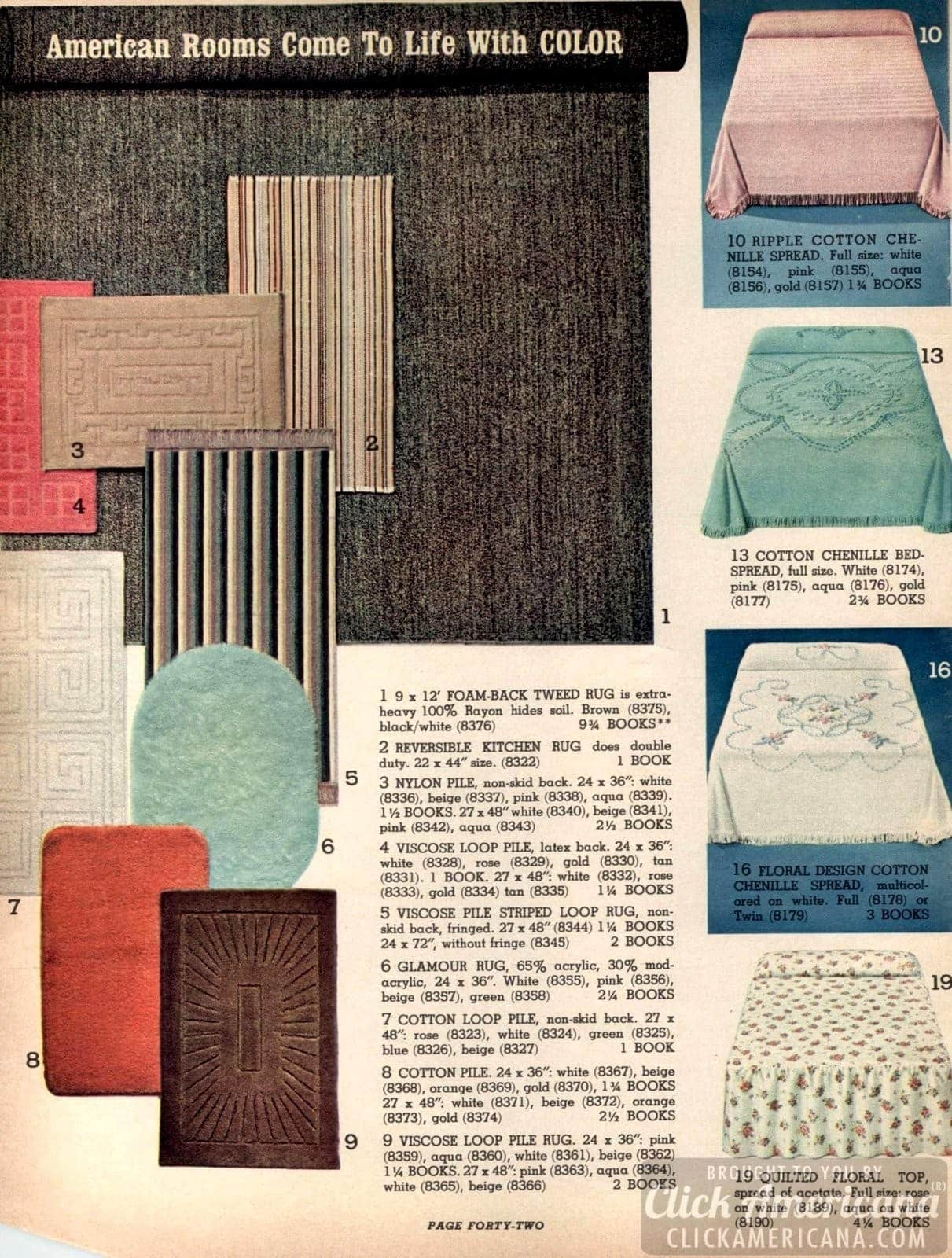Vintage home decor and furnishings - bedspreads, rugs