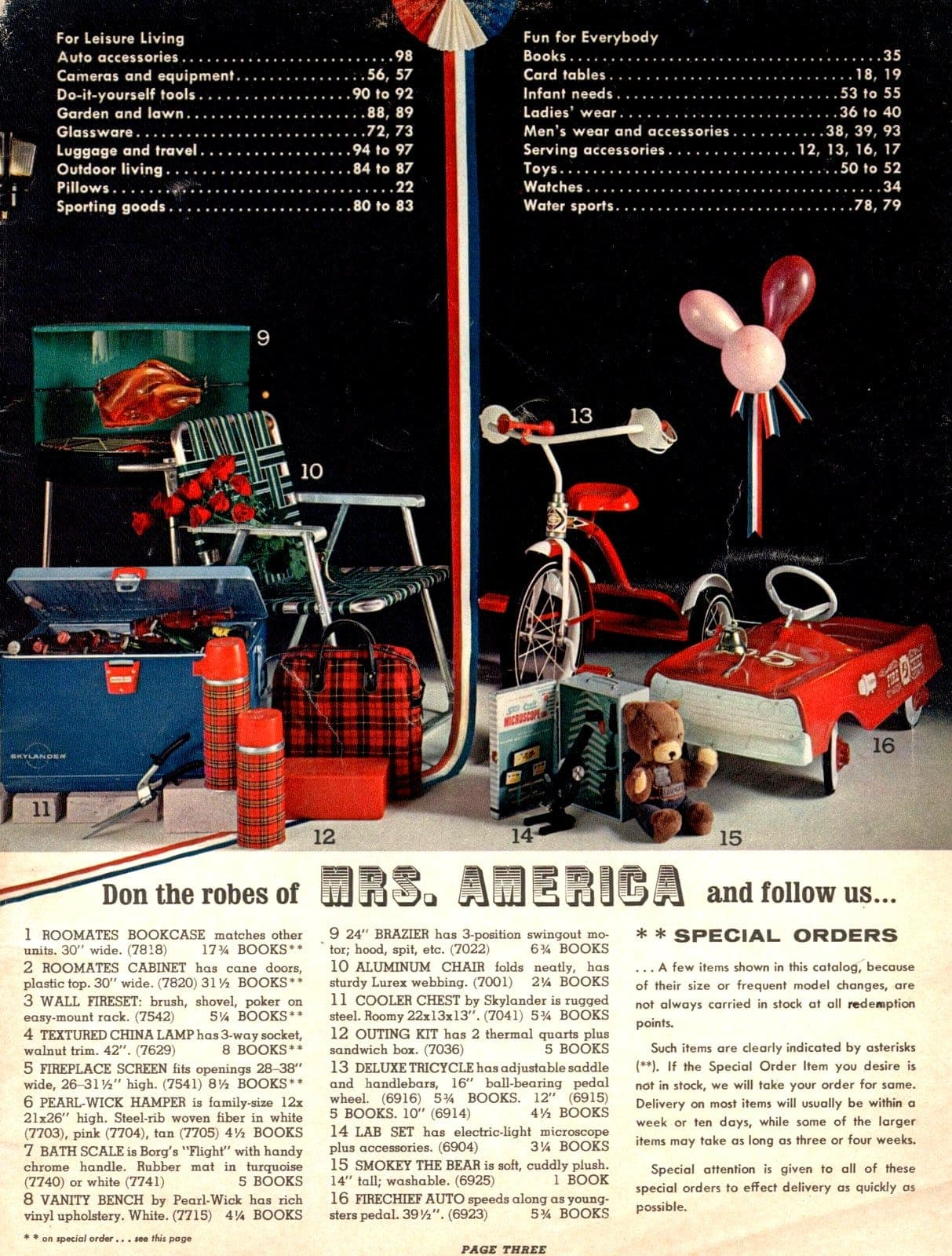 Tricycles, toy cars, chest coolers, thermoses, lawn chairs and more for vintage leisure living