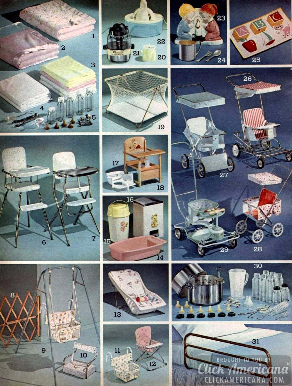 Everything for the '60s baby! Stollers, high chairs, blankets, bottles, playpens, toys, carseats, baby gates, swings and more