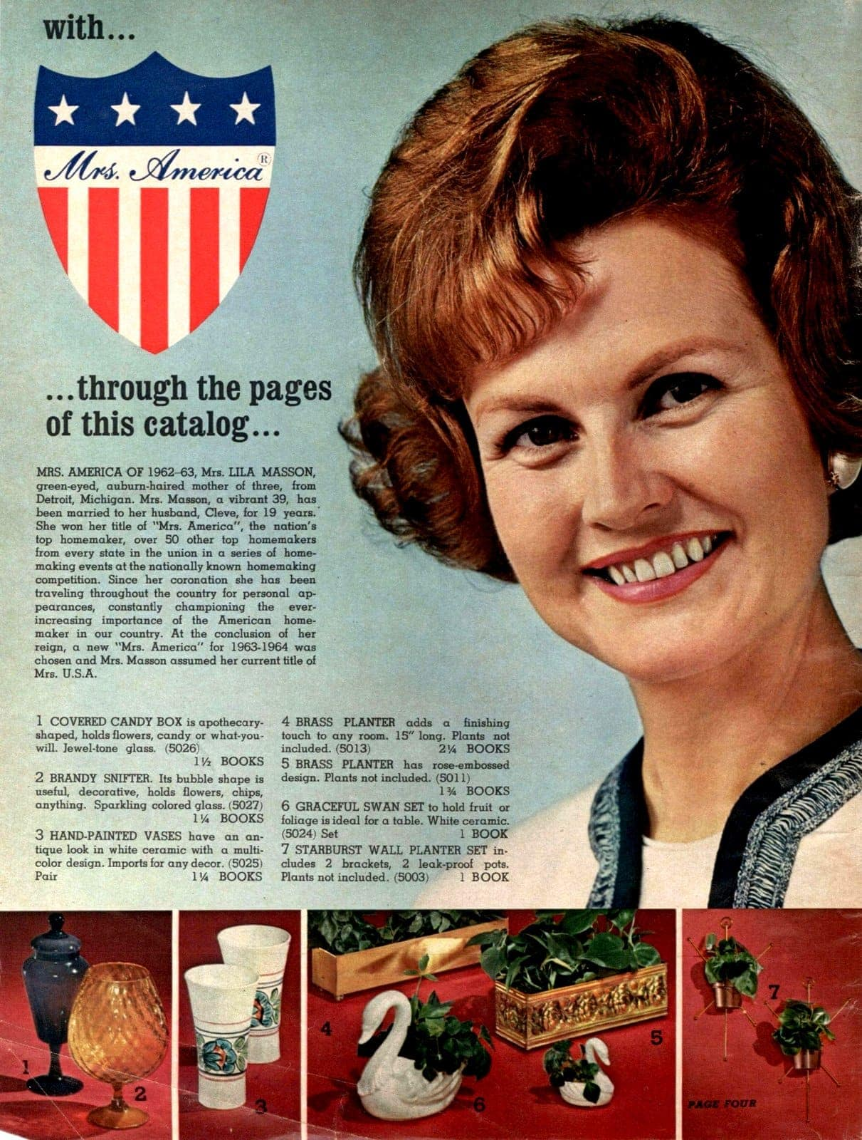 Mrs America introduces the catalog - and shows brandy snifters, vases, planters, and other home accessories