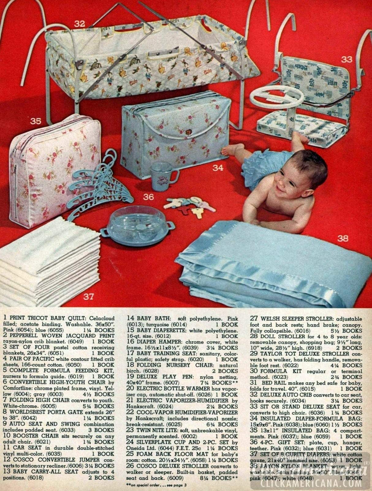 Vintage baby gear - hangers, seat, blankets, toys, deluxe auto crib that converts to a car seat