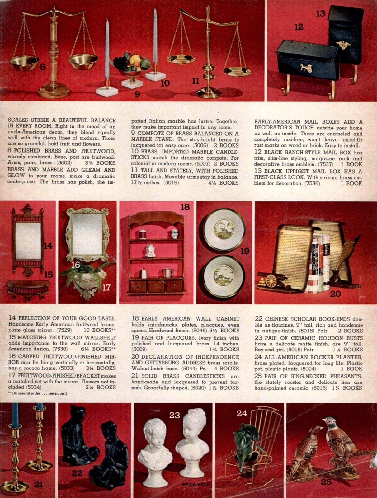 Vintage home decor - scales, mail boxes, mirrors, tables, statues, candle holders and bookends