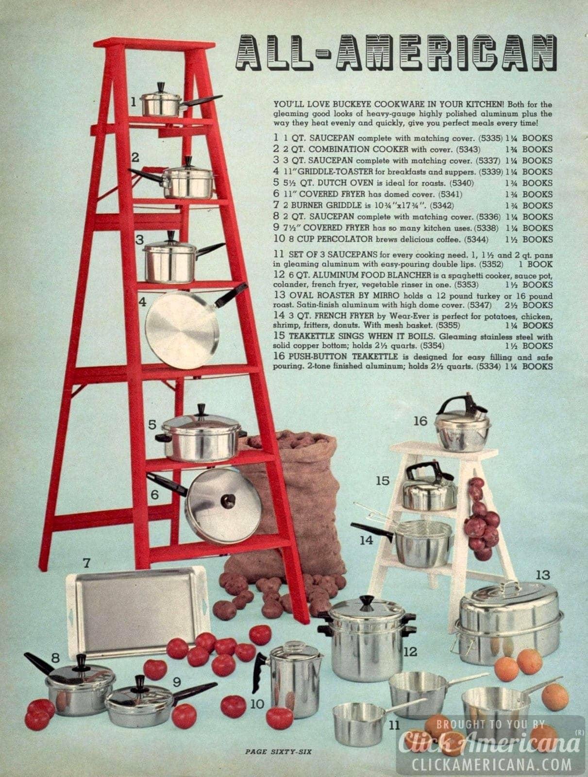 Polished aluminum vintage Buckeye cookware - saucepans, fryers, teakettle and fryers