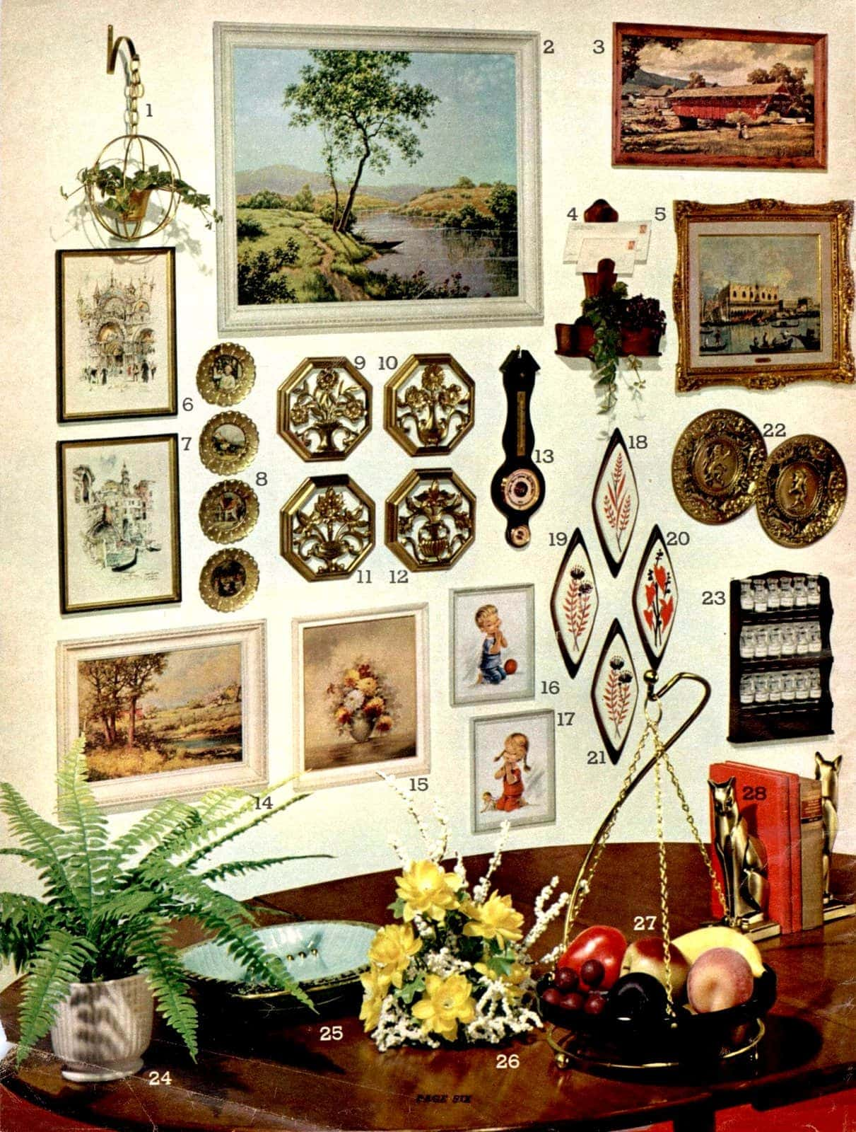 Wall decor and plaques, pictures, frames, decorative flower holders, fruit baskets, floral arrangements