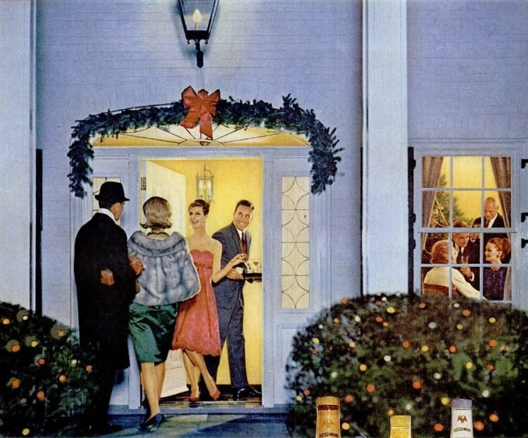 1963 Holiday party - Opening the front door