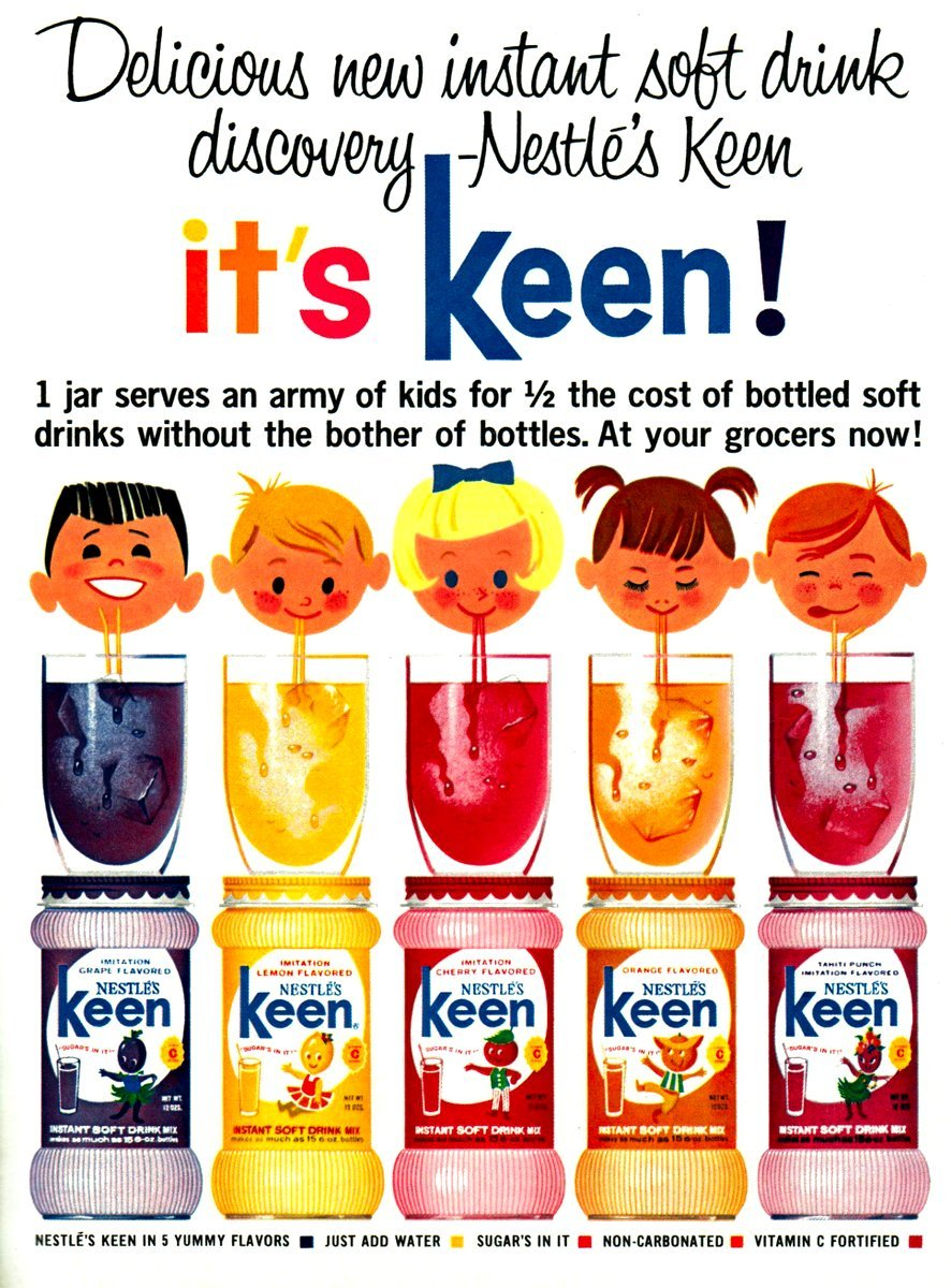 Keen New Fruit Flavored Soft Drink Mixes For Kids 1963