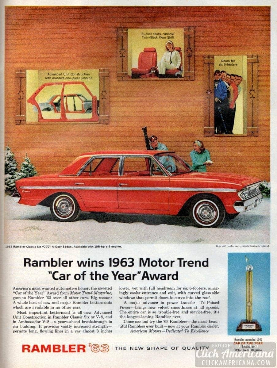 "Rambler wins 1963 Motor Trend ""Car of the Year"""