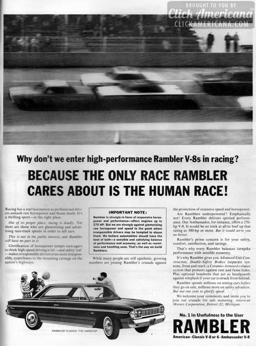 Why don't we enter high-performance Rambler V-8s in racing?
