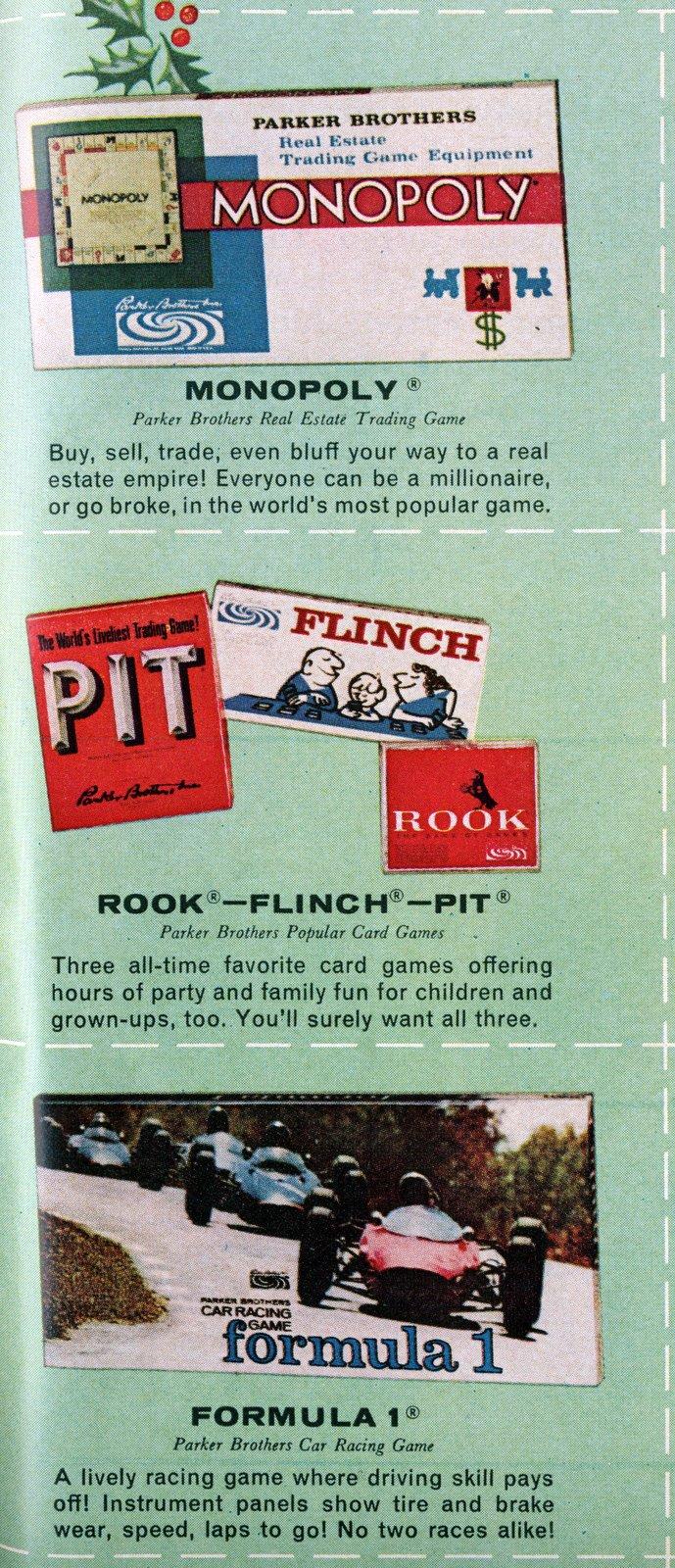 1964 vintage board games - Monopoly - Pit - Flinch - Rook - Formula 1