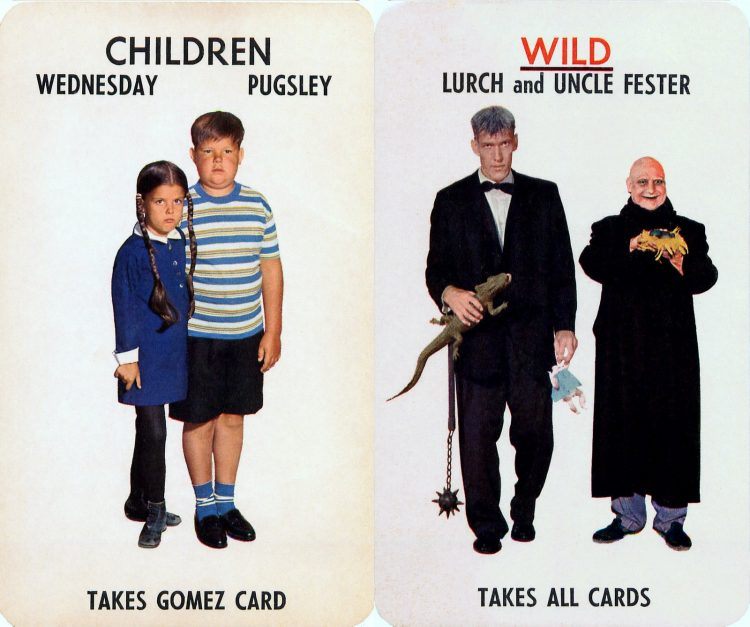 1965 Addams Family board game cards by Milton-Bradley (2)