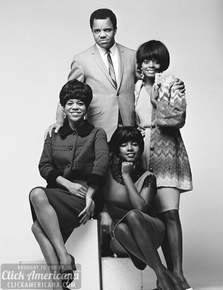 Berry Gordy Jr and the Supremes studio portrait, 1965, USA. Clockwise from top Berry Gordy, Diana Ross, Mary Wilson, Florence Ballard.