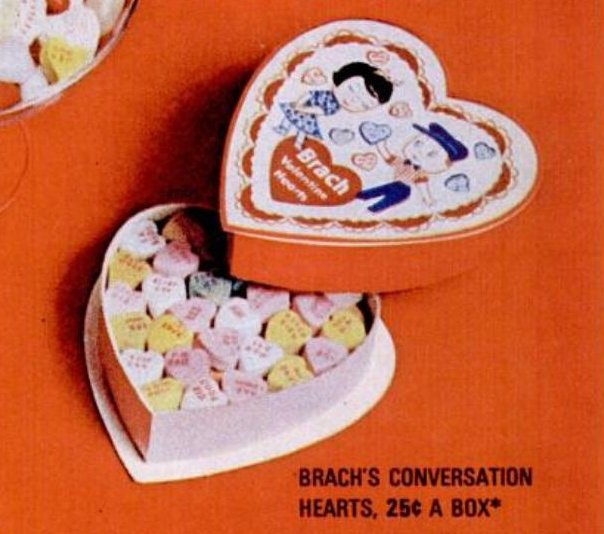 1965 Brach's valentines conversation hearts candy