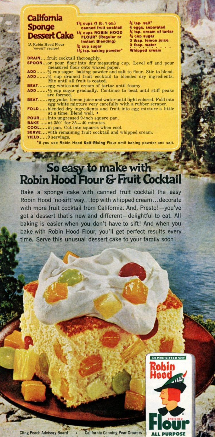 1965 California sponge dessert cake recipe with fruit cocktail in it