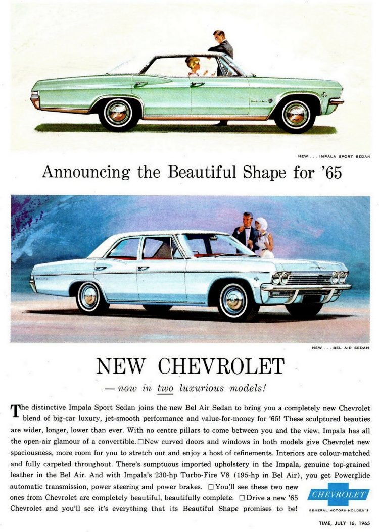 1965 Chevrolet cars - Impala and Bel Air sedans