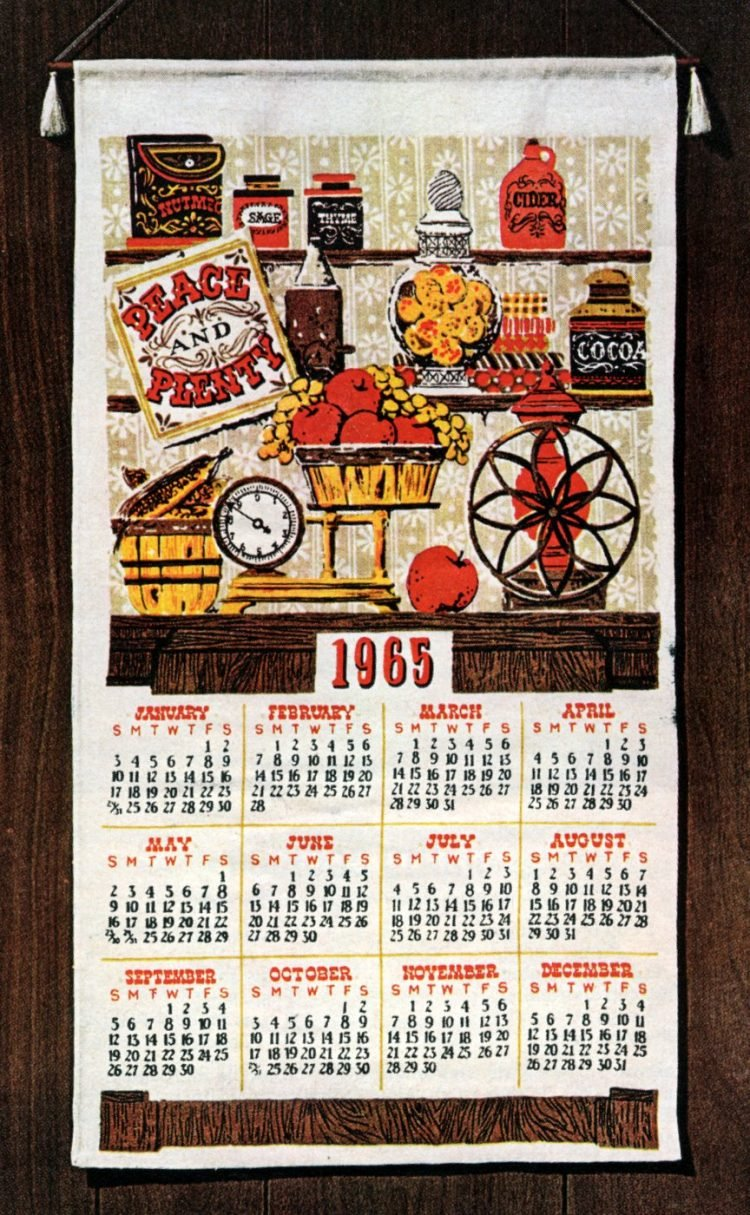 1965 Linen cloth kitchen calendar