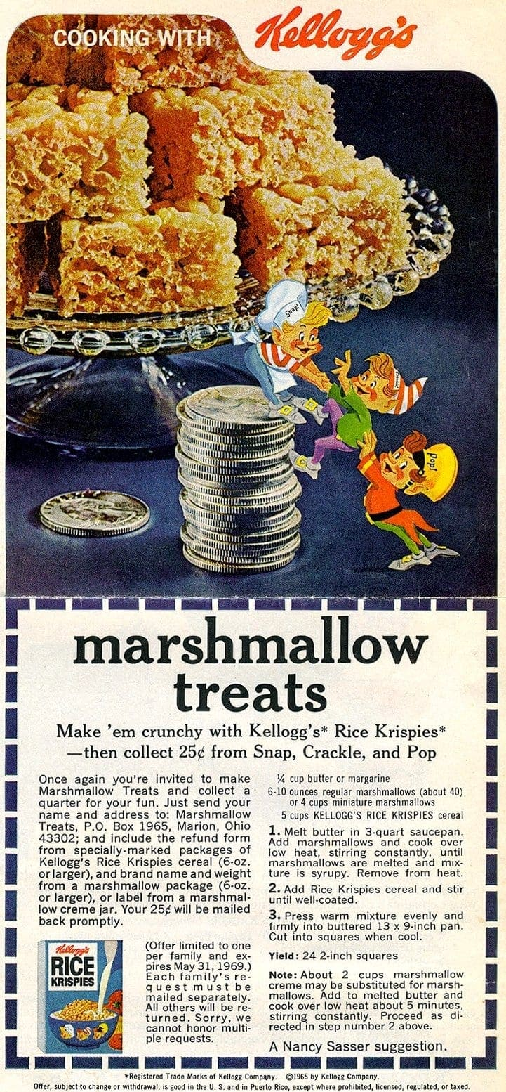 Marshmallow treats recipe (1969)
