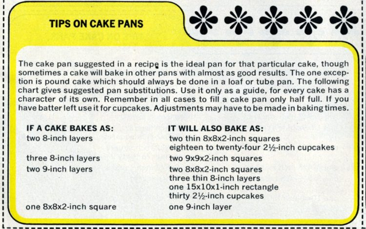 1965 Vintage baking - tips on cake pans (2)