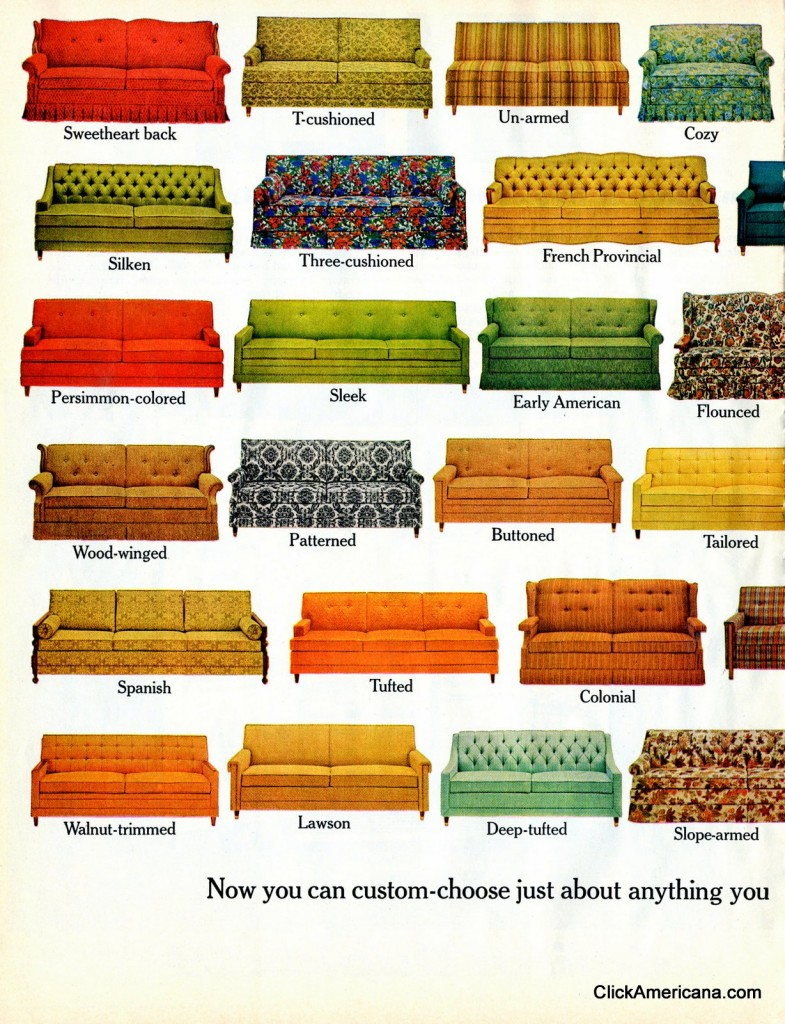 Restroom Furniture Hide-a-Bed sofa styles (1965) - Click Americana