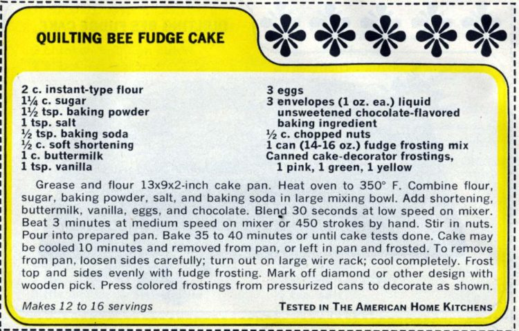 1965 vintage Quilting Bee Fudge Cake recipe card (1)