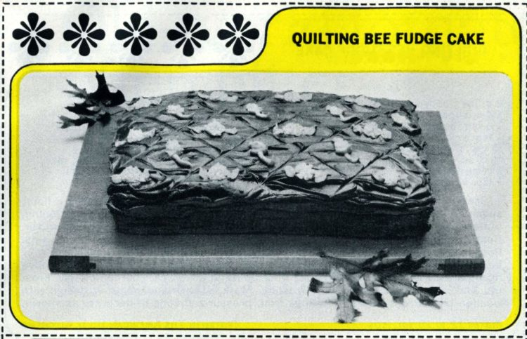 1965 vintage Quilting Bee Fudge Cake recipe card (2)